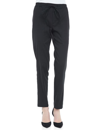 Linen-Blend Drawstring Jogging Pants