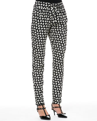 Bow-Print Slim Ankle Pants