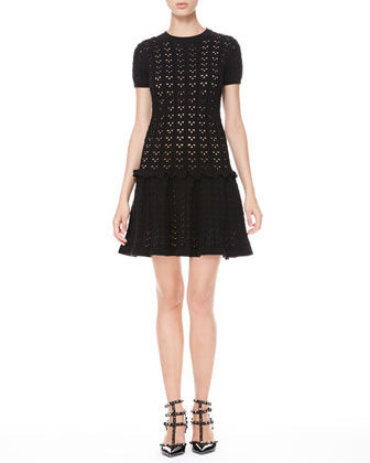 Laser Cut Drop-Waist Dress