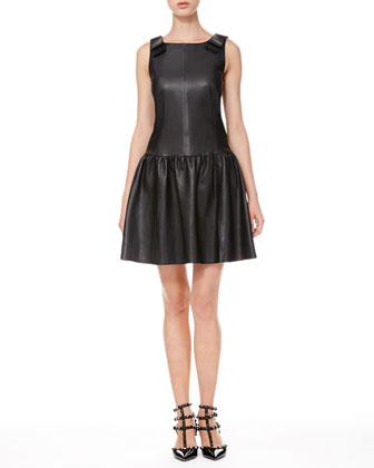 Leather Drop-Waist Bow Dress