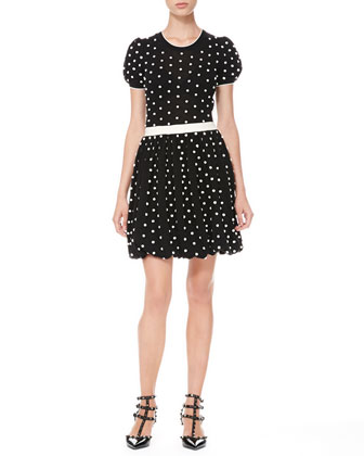 Polka Dot Bubble-Skirt Dress