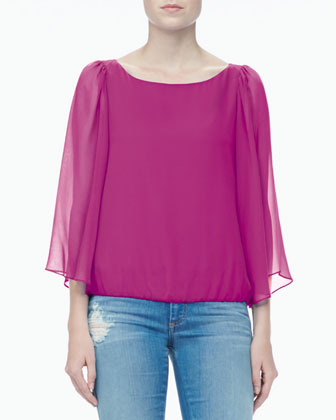 Briar Sheer-Sleeve Top