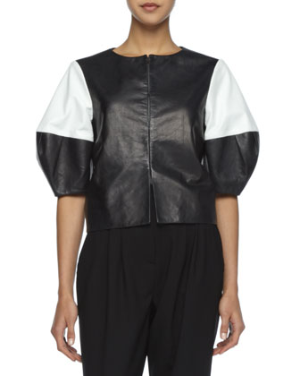 Two-Tone Leather Jacket, Short-Sleeve Slub Tee & Anders High-Waist Pants