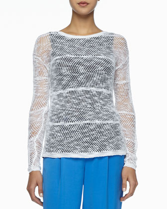Sheer Textured Linen Sweater