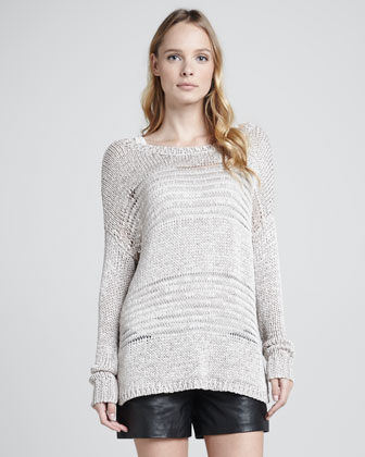 Shadow-Stripe Knit Sweater, Favorite Tank & Lamb Leather Shorts