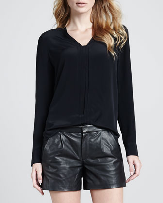 Silk Long-Sleeve Blouse, Black