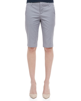 Side-Buckle Bermuda Shorts, Shadow