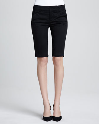 Cashmere Open-Front Cardigan, Ribbed Favorite Tank & Side-Buckle Bermuda Shorts