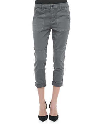 Cuffed Twill Military Pants