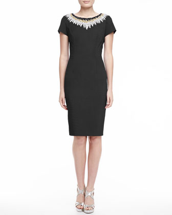 Beaded Bateau Sheath Dress