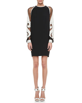 Embroidered-Sleeve Shift Cocktail Dress