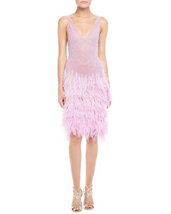 Sleeveless Beaded Cocktail Dress with Feathers