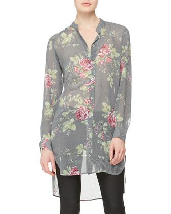Rose-Print Paneled Tunic Dress