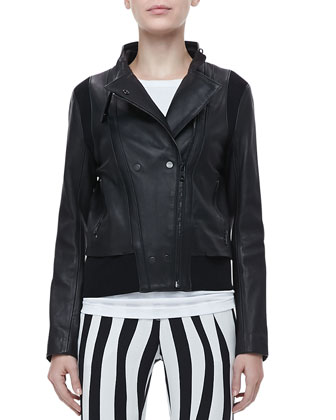 Saari Leather Jacket, Cotton Muscle Tank & Andrew Optic-Stripe Pants