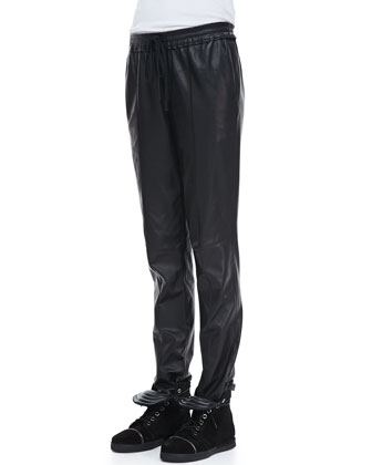 Tony Drawstring Leather Pants