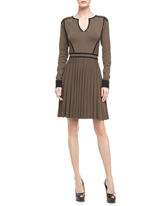 Alexis Contrast-Trim Sweaterdress