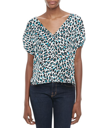 Cheetah-Print Silk Top