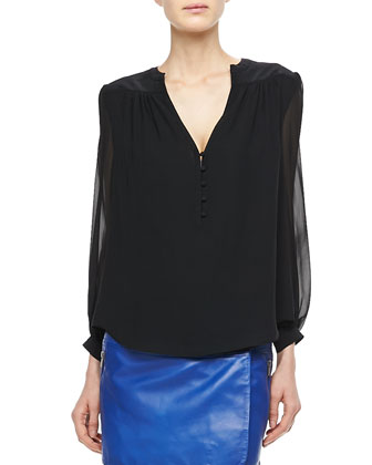 Chloe Long-Sleeve Silk Blouse
