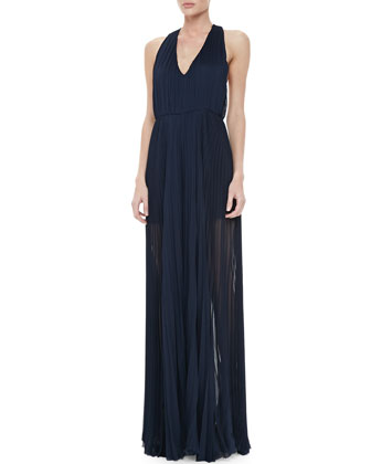 Sheer Pleated Chiffon Jumpsuit