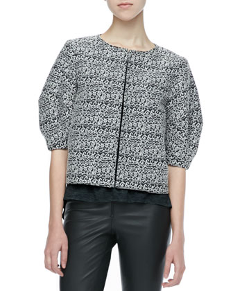 Dunn Printed Boxy Jacket, Short-Sleeve Slub Tee & Leather Leggings