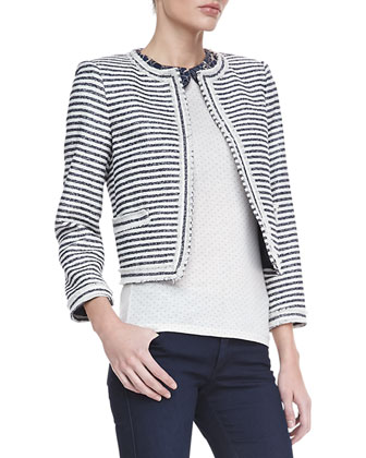 Olympia Peter Pan Top/Kidman Horizontal Striped Jacket & Two-Button Dark Skinny Jeans