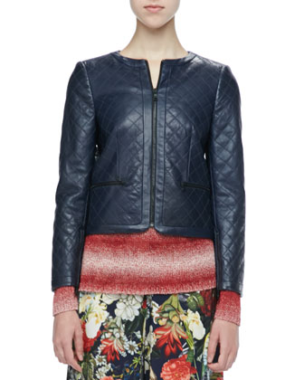 Cropped Quilted Leather Jacket