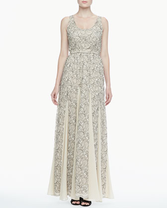 Kravit Fluted Lace Maxi Dress