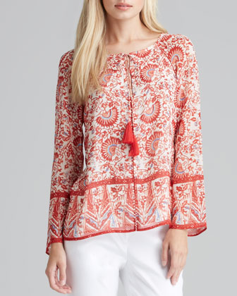 Danica Printed Tie-Neck Tunic