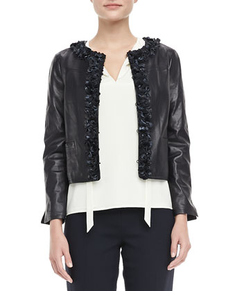 Lindsay Rosette-Trim Leather Jacket, Tanya Tie-Neck Top & Tara Cropped Crepe Pants