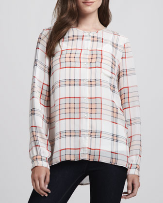 Kariana Long-Sleeve Plaid Blouse