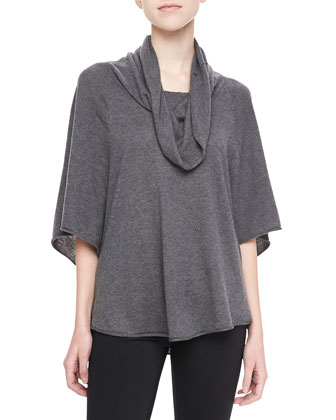 Celia Cowl-Neck Sweater, Gray