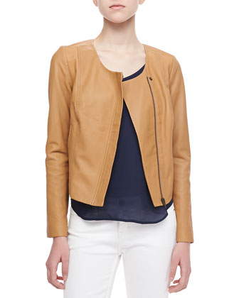 Emelyn Short Leather Jacket & Glenna Short-Sleeve Top