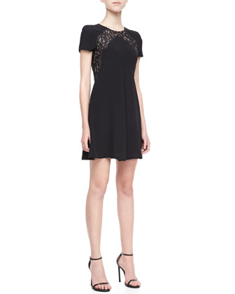 Lace-Panel Crepe Dress