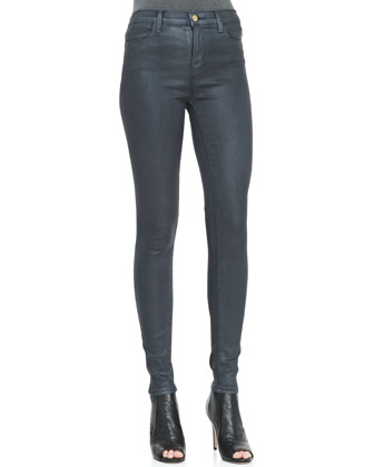 Maria Varnished Steel High-Rise Jeans
