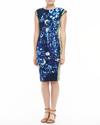 Cap-Sleeve Jersey Dress, Blue/Multicolor
