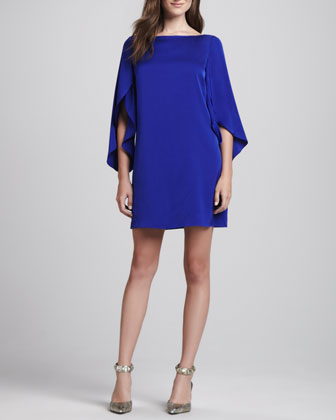 Butterfly-Sleeve Shift Dress, Cobalt