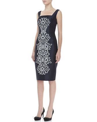 Lily Contrast-Embroidered Dress