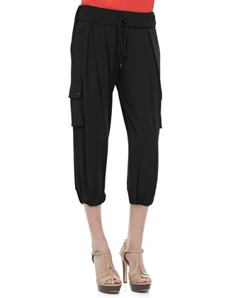 Cropped Draped Cargo Pants