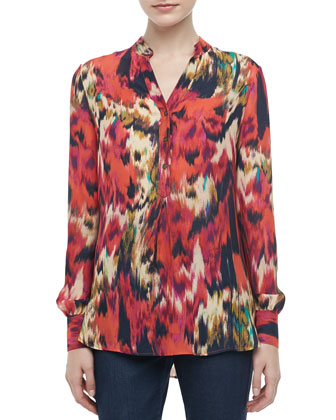 Printed Silk Henley Blouse