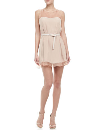 Adalde Belted Sheer-Trim Dress