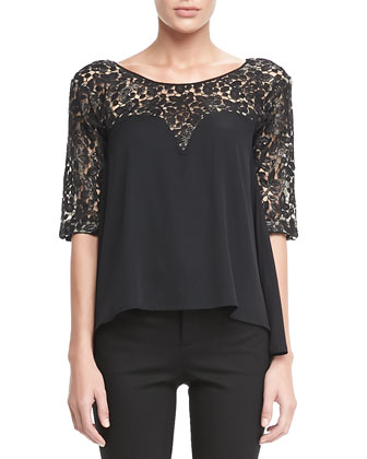 Clara Lace-Top Blouse