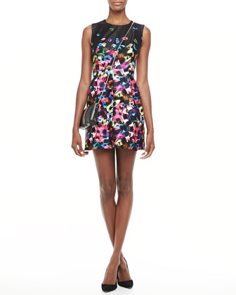 Graffiti-Flower Satin Dress