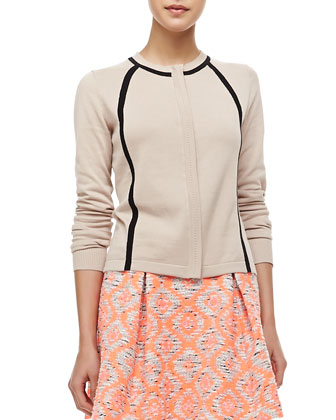 Fiesta Contrast Long-Sleeve Cardigan & Wildcat Tribal-Print Pleated Peplum Skirt