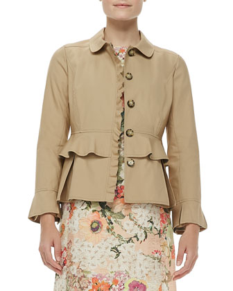 Delia Ruffled Cotton Jacket & Kaley Floral Tweed Dress