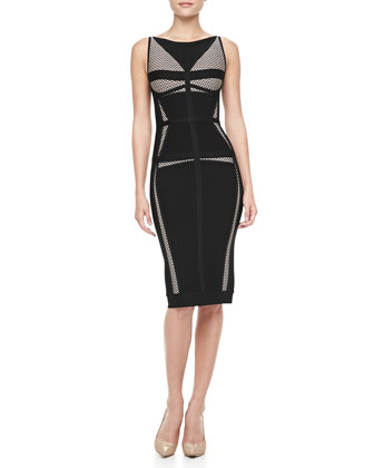Net-Inset Bandage Dress