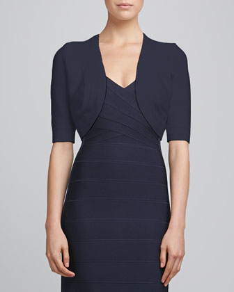 Bandage-Trim Shrug, Navy