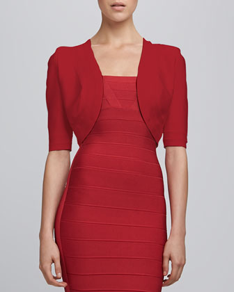 Bandage-Trim Shrug, Lipstick Red