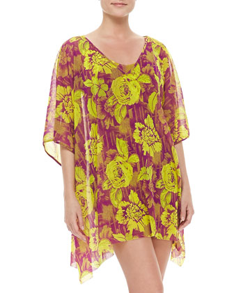 Floral-Print Sheer Coverup