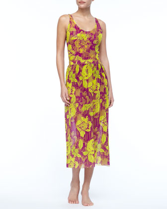 Floral-Print Chiffon Skirt