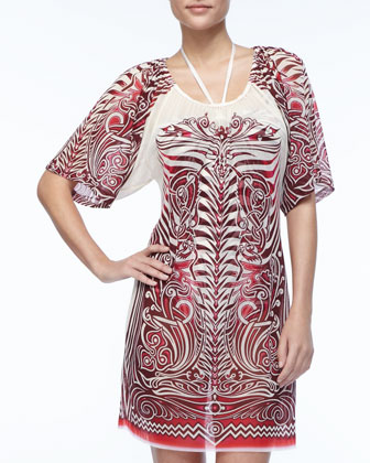 Printed Sheer Chiffon Coverup
